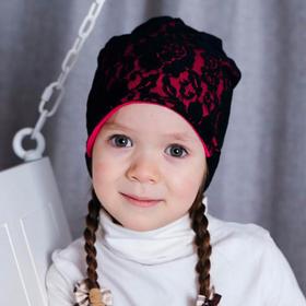 Комплект шапка двухсторонняя+снуд, размер 46-50 см, цвет фуксия/чёрный В-0211фчр