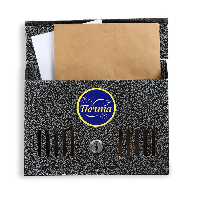 Ящик почтовый с замком, горизонтальный «Мини», серебристый
