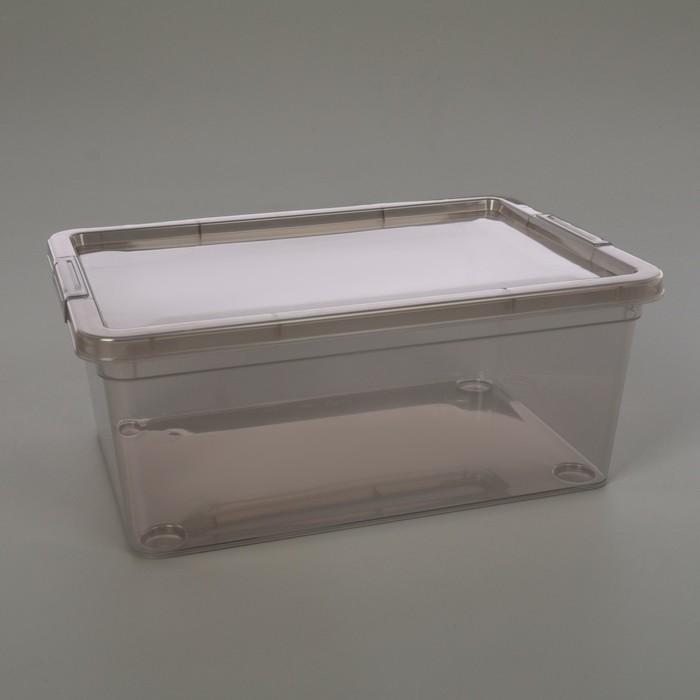 Короб для хранения с крышкой Mystery, 3,5 л, 26×18×11 см, цвет прозрачно-серый - фото 308334470