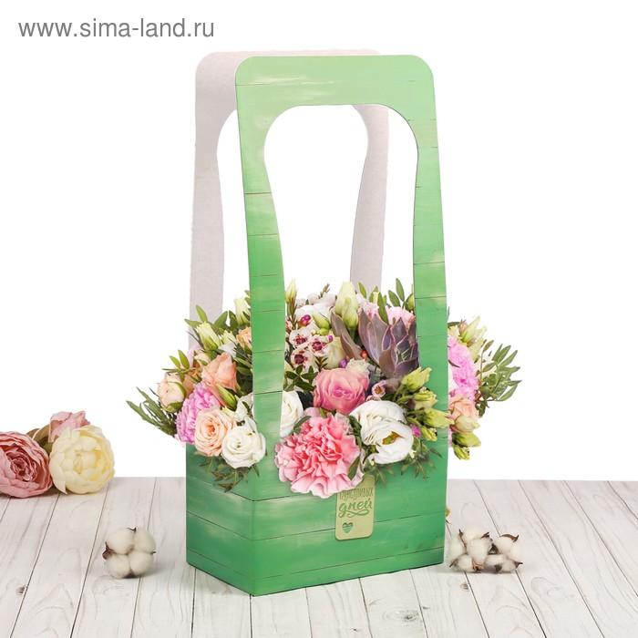 Сумочка для цветов «Досочки», 23 х 45 х 13 см.