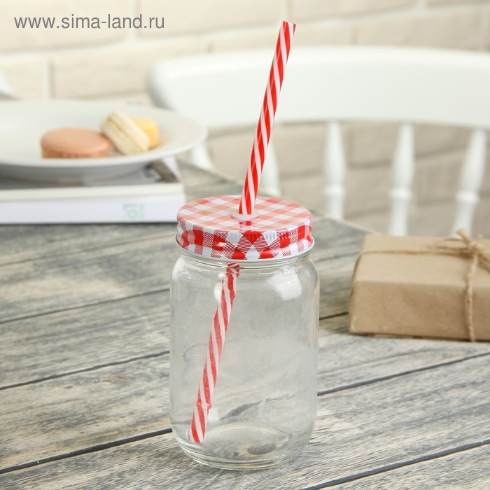 """Bank 450 ml """"Brevity"""", with lid and straw, MIX color"""
