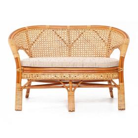 Диван 2-местный, с подушкой, 120 × 65 × 77 см, натуральный ротанг, цвет коньячный, 02/15C