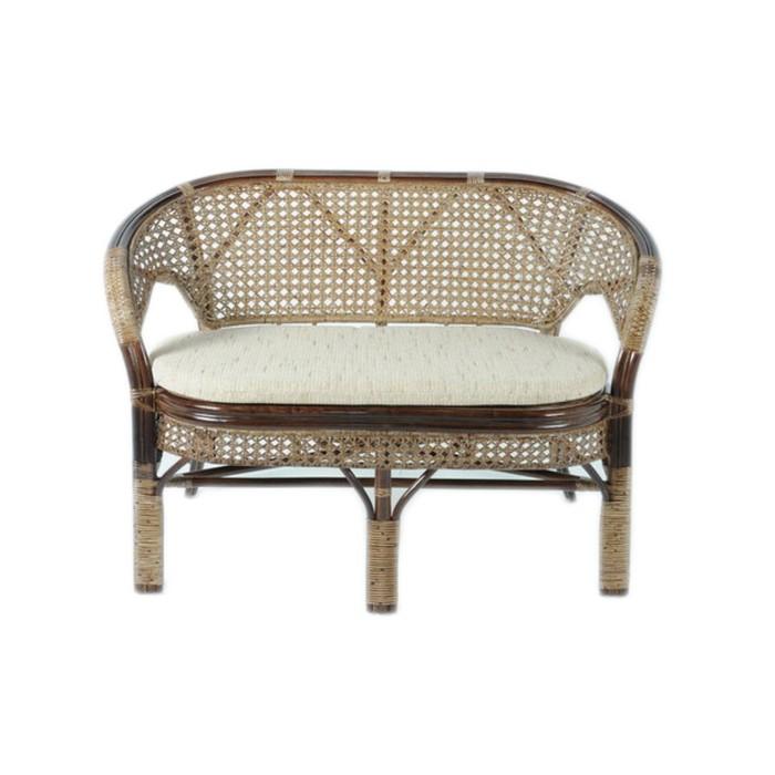Диван 2-местный, с подушкой, 120 × 65 × 77 см, натуральный ротанг, цвет тёмно-коньячный, 02/15C