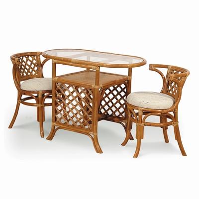 Набор мебели : стол и два стула, цвет коньячный, 03/03
