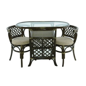 Набор мебели, 3 предмета: стол, 2 стула, ротанг, цвет тёмно-коньячный, 03/03