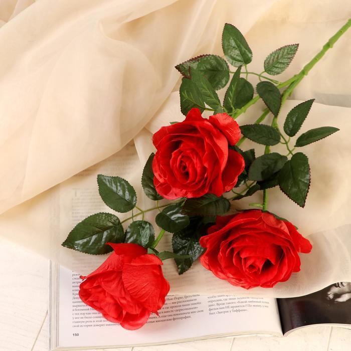 """Цветы искусственные """"Роза аморе"""" три бутона 7*85 см, красная - фото 4455874"""