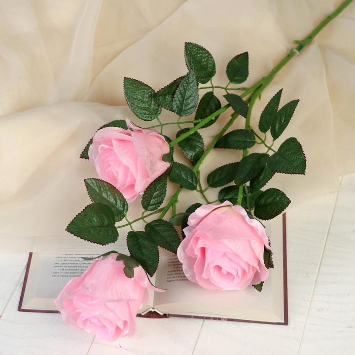 """Цветы искусственные """"Роза аморе"""" три бутона 7*85 см, розовая"""