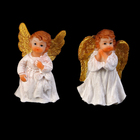 """Сувенир полистоун """"Ангел с золотыми крыльями в белом платье"""" в пакетике МИКС 5х3,3х2,3 см"""