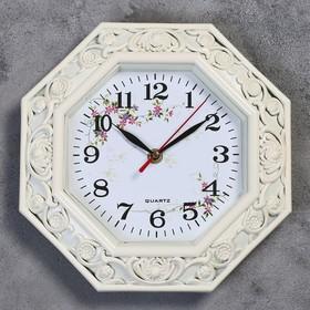 """Часы настенные, серия: Цветы, """"Пионовидные  розы"""", бежевые 25х25 см"""