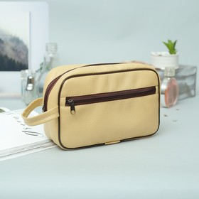 Cosmetic bag road Department with a zipper, external pocket, color cream