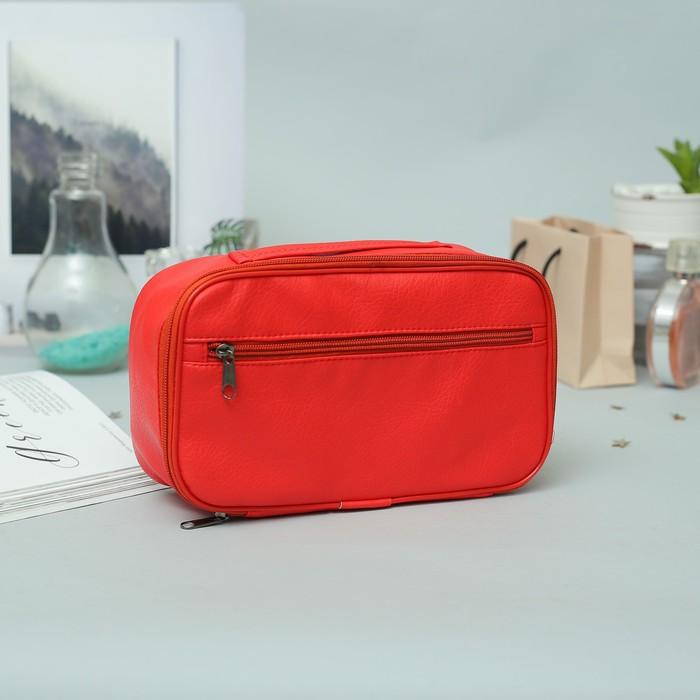 Косметичка дорожная, отдел на молнии, наружный карман, цвет красный