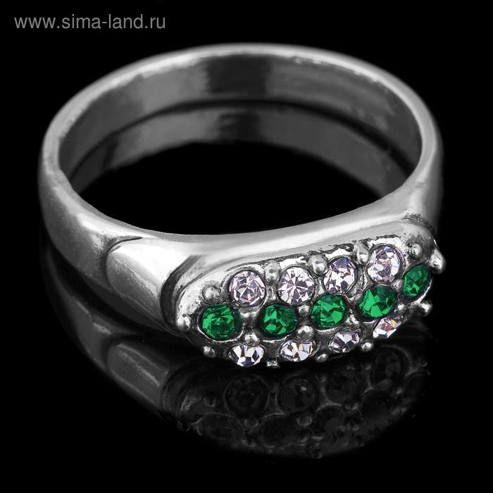 """Кольцо бижар """"Альянс большой"""", размер 18,5, цвет бело-зелёный в чернёном серебре"""