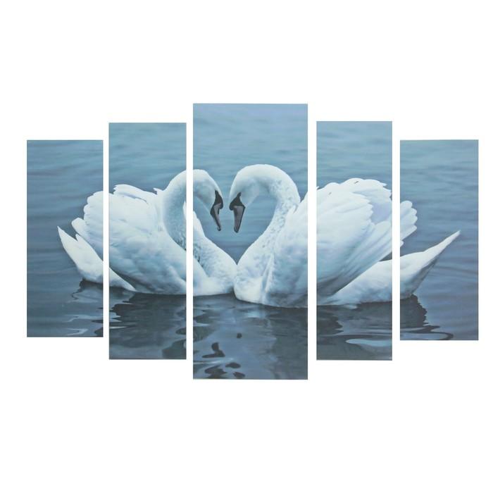 """Модульная картина """"Лебеди"""" 20*50 - 2 части, 20*60 2 части, 30*70 - 1 часть,  70*120 см - фото 8443500"""