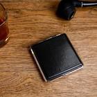Портсигар черный  в мелкую крапинку , кожзам+металл, 9*10 см