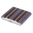 Портсигар квадрат, в продольную полоску, текстиль+металл, 9*10 см