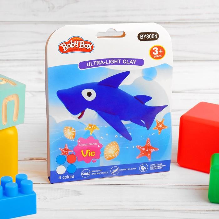 """Набор для создания игрушки из массы для лепки """"Акула"""", масса 4 банки по 10 гр"""