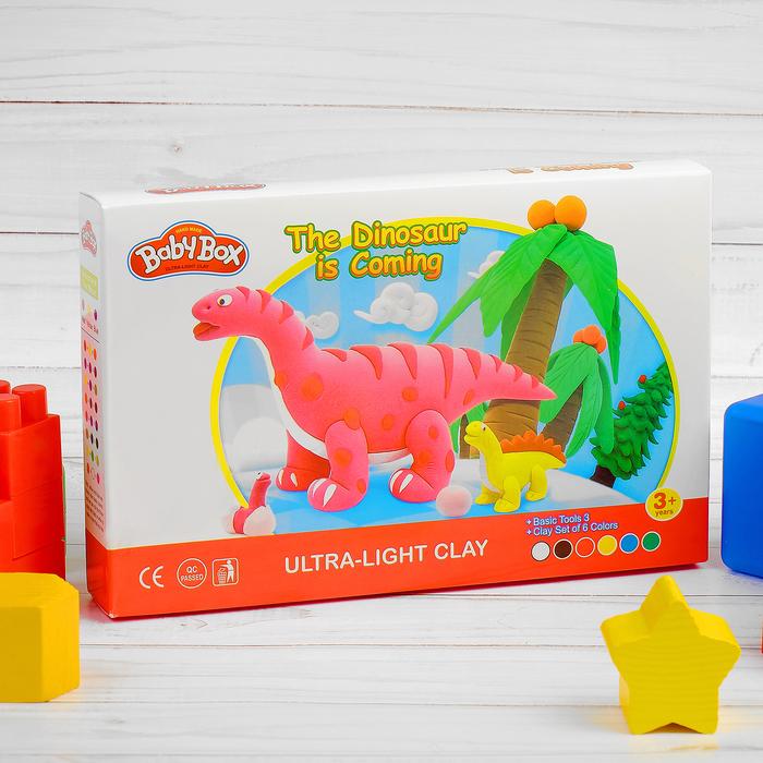 """Набор для создания игрушек из массы для лепки """"Динозавры"""", масса 6 банок по 16 г, 3 стека"""