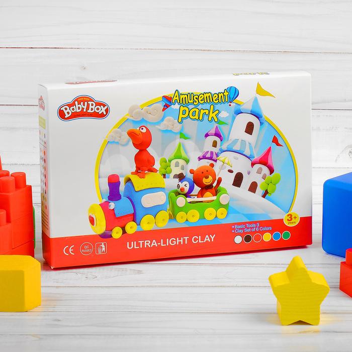 """Набор для создания игрушек из массы для лепки """"Паровозик"""", масса 6 банок по 16 г, 3 стека"""