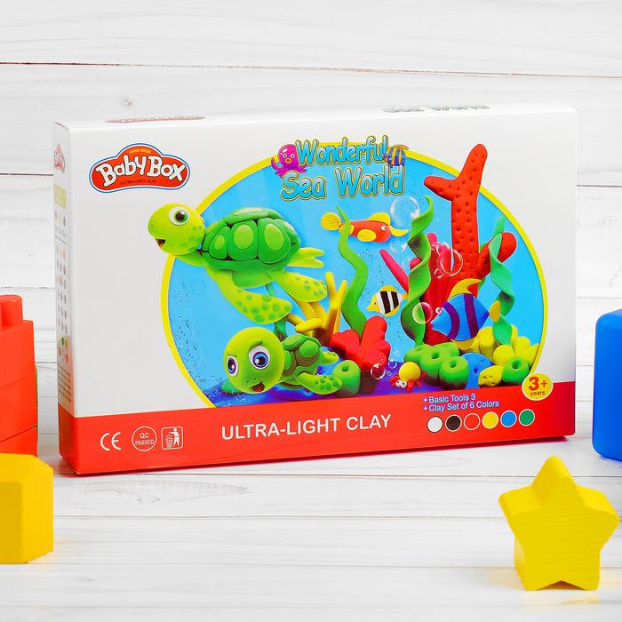"""Набор для создания игрушек из массы для лепки """"Подводный мир""""масса 6 банок по 16 г,3 стека"""