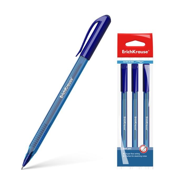 Набор ручек шариковых 3 штуки Ultra Glide Technology U-18, узел 1.0 мм, чернила синие, длина линии письма 800м, европодвес