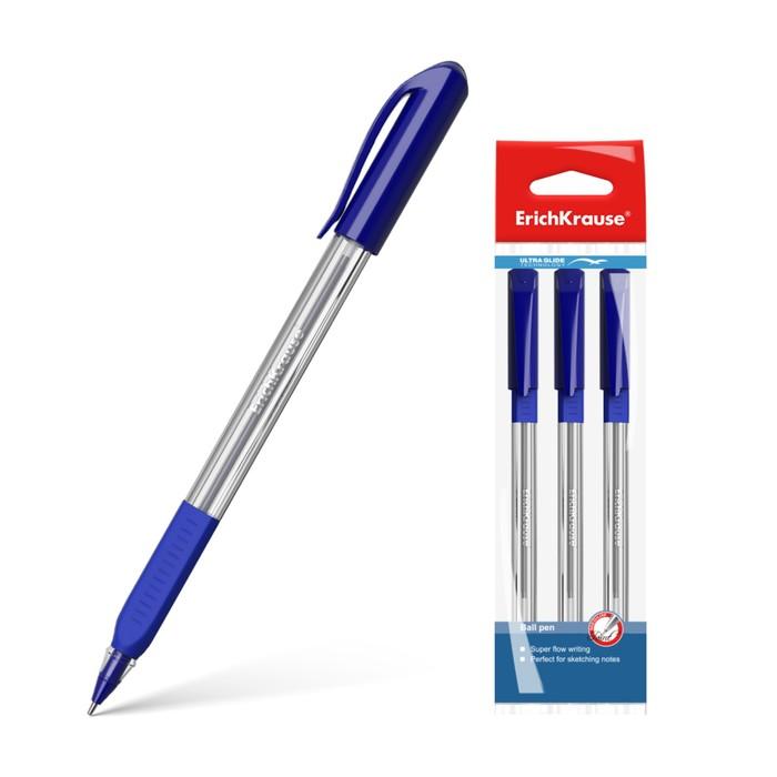 Набор ручек шариковых 3 штуки Ultra Glide Technology U-19, резиновый упор, трёхгранная, одноразовая, узел-игла 0.6 мм, чернила синие, длина линии письма 1000 метров *