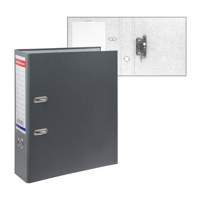 Папка-регистратор А4, 70 мм, Granite, собранный, серый, пластиковый карман, картон 1.75 мм, вместимость 450 листов - фото 405921509
