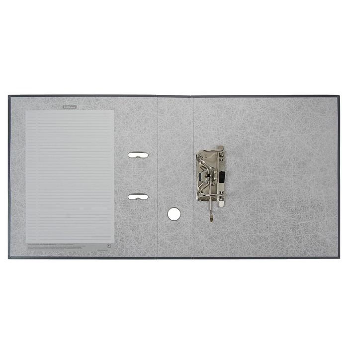 Папка-регистратор А4, 70 мм, Granite, собранный, серый, пластиковый карман, картон 1.75 мм, вместимость 450 листов - фото 509602886