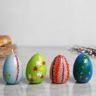 """Свеча пасхальная """"Яйцо разноцветное"""" малое, с деколью, разноцветная, микс"""