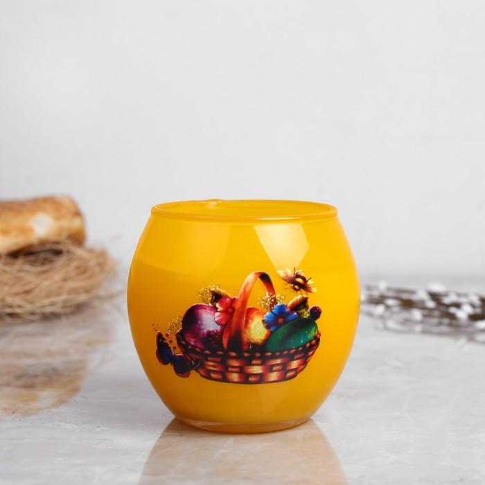 Свеча парафиновая в стекле с пасхальным декором, микс