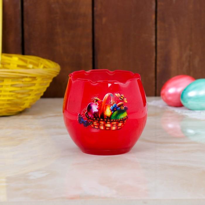 Свеча парафиновая в стекле с пасхальным декором, КРАСНАЯ, микс