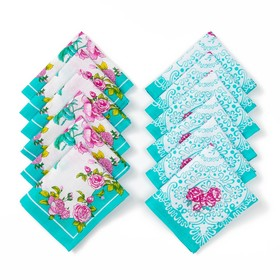 Набор платков носовых женских «Шуя», 30х30 см, 12шт, бирюза микс, хлопок, 90 г/м2