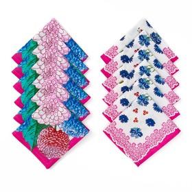 Набор платков носовых женских «Шуя», 30х30 см, 12шт, фукси микс, хлопок, 90 г/м2
