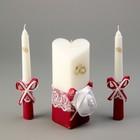 """Набор свечей """"Домашний очаг"""" атласная роза,6.8х15см, 2шт: 1.8х17.5см, бордо"""