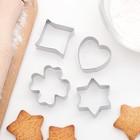"""Набор форм для вырезания печенья 8х8 см """"Сердце, звезда, клевер"""", 4 шт - фото 308034494"""