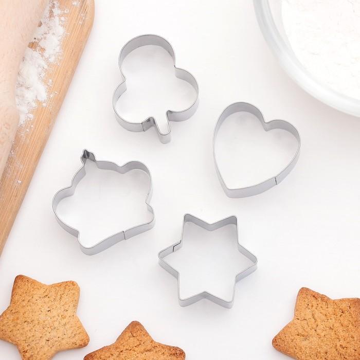 """Набор форм для вырезания печенья 8х8 см """"Сердце, звезда, корона"""", 4 шт - фото 246545328"""