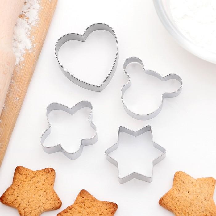"""Набор форм для вырезания печенья 8х8 см """"Сердце, звезда, цветок, мишка"""", 4 шт"""