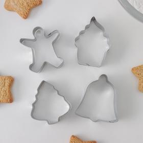{{photo.Alt || photo.Description || 'Набор форм для вырезания печенья Доляна «Человечек, капкейк, колокольчик, ёлочка», 4 шт'}}
