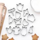 """Набор форм для вырезания печенья """"Ангел, след, животные, дом, крестик"""", 12 шт - фото 147163710"""