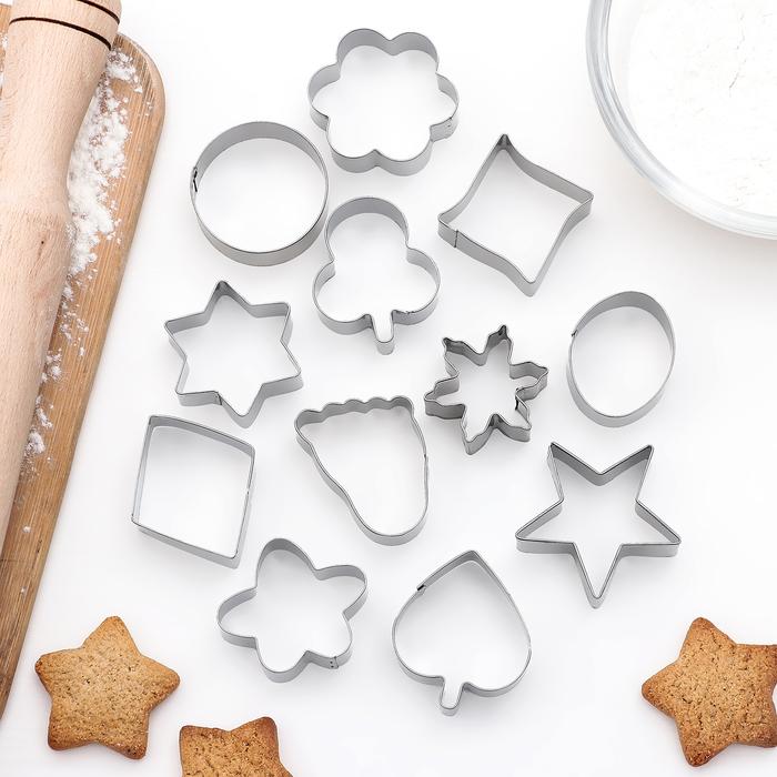 """Набор форм для вырезания печенья """"След, овал, звезда, цветок"""", 12 шт"""