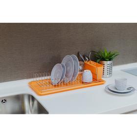 Сушилка для посуды с поддоном Доляна, 50×25×14 см, цвет МИКС