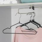 Вешалка-плечики для одежды детская с антискользящим покрытием, размер 30-34, цвет чёрный - фото 308302351