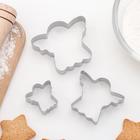 """Набор форм для вырезания печенья 6,5 х 6 см """"Ангел"""", 3 шт"""