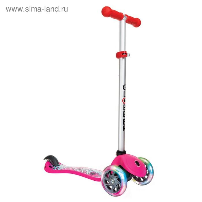 "Самокат ""Globber"" PRIMO FANTASY LIGHTS (свет.колеса), розовые цветы"