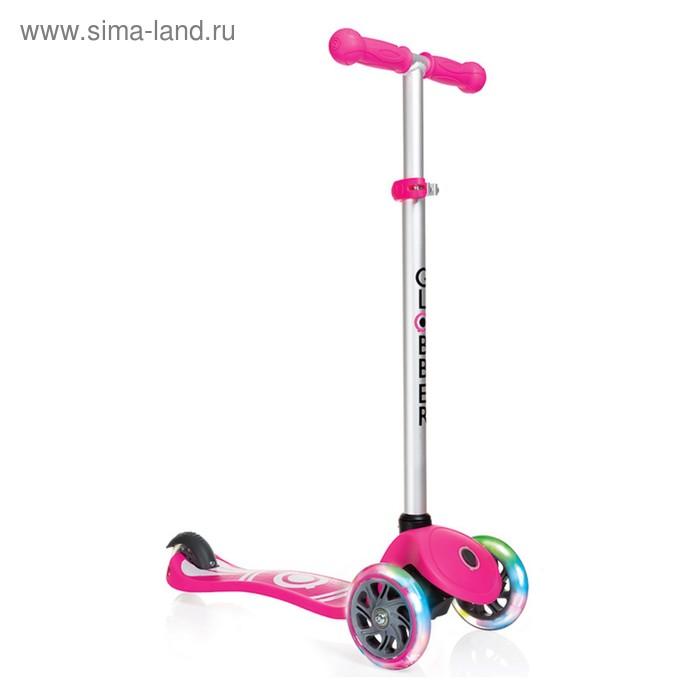 """Самокат """"Globber"""" PRIMO FANTASY LIGHTS (свет.колеса), розовый лого"""