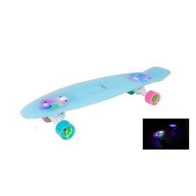 "Ретроборд HUDORA Skateboard Retro Eisglow 27"", цвет голубой"