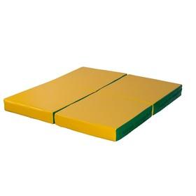 Мат № 11 (100 х 100 х 10) складной 4 сложения зелёно/жёлтый