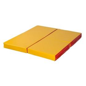 Мат № 11 (100 х 100 х 10) складной 4 сложения красно/жёлтый
