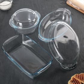 Набор посуды для запекания «Borcam»: кастрюля 1,5 л, утятница 1,7 л, форма 33,5×19,3×7 см