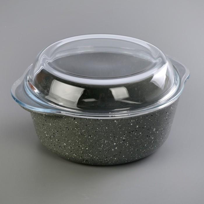 Кастрюля 1,45 л, с крышкой, цвет серый