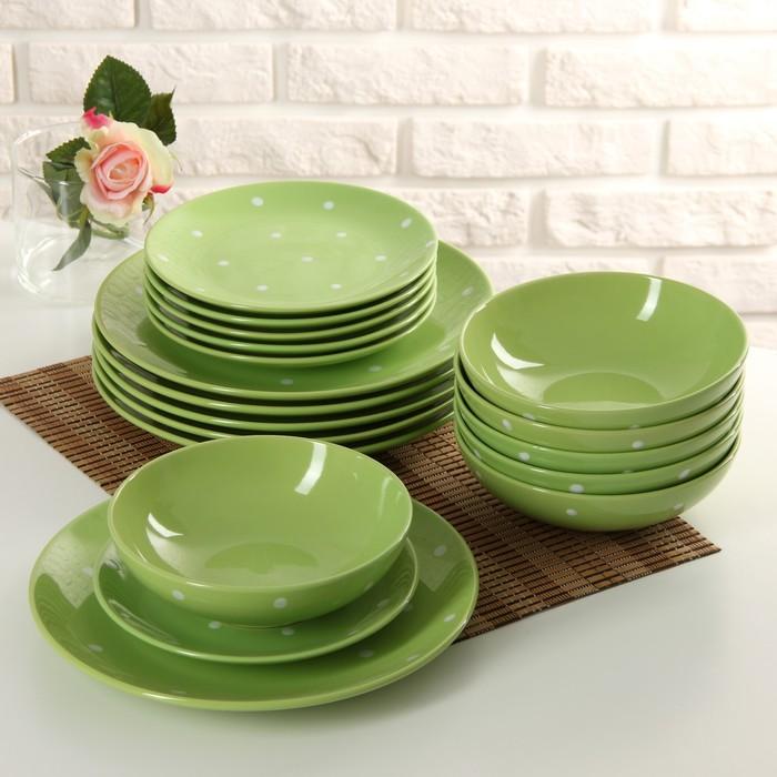 Сервиз столовый «Зелёный горох», 18 предметов, цвет зелёный
